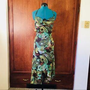 Brown Multicolored Halter A-Line Dress